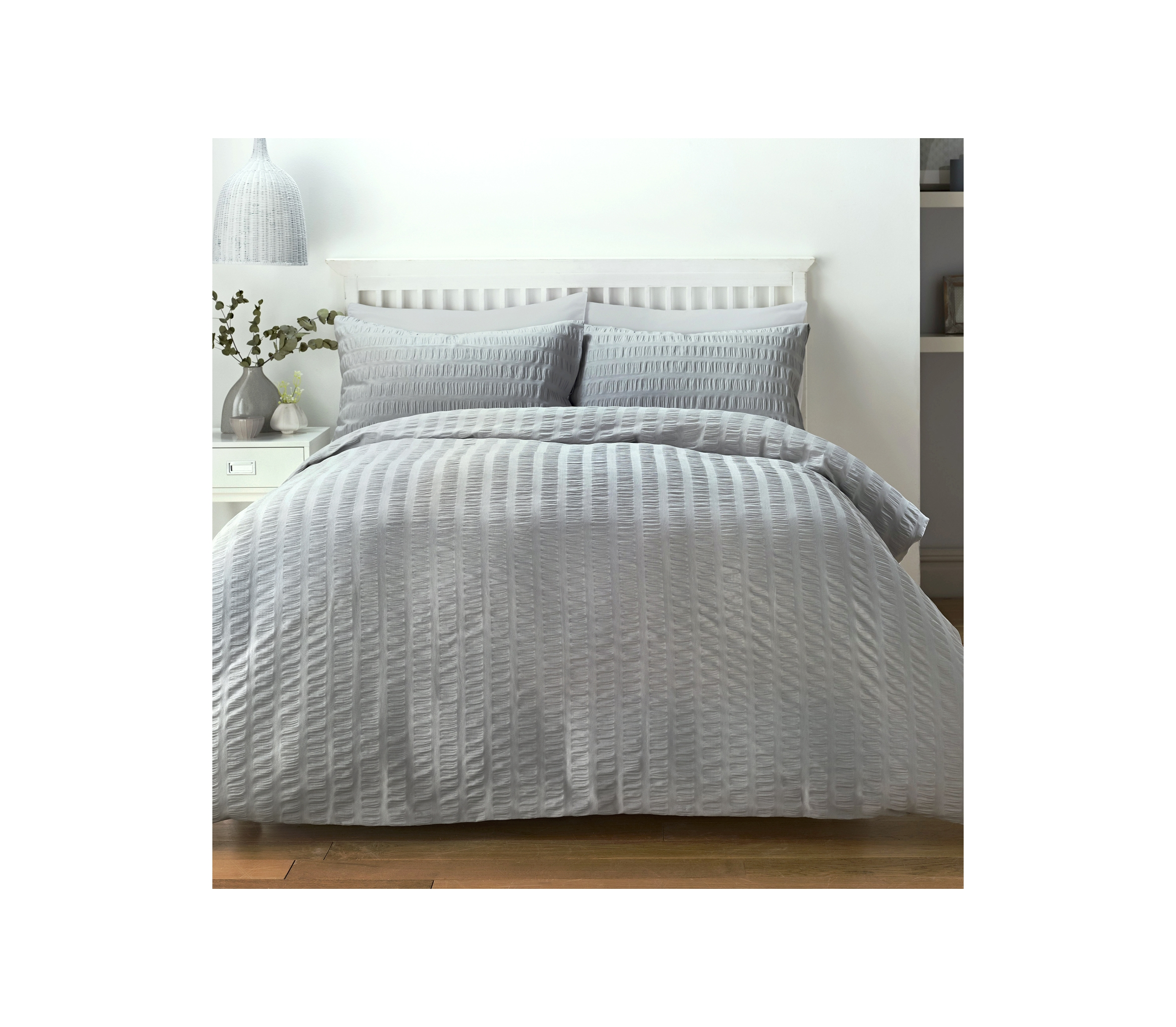 Serene Seersucker Grey Duvet Cover Set J Rosenthal Amp Son